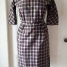 Vintage 50's pinup school girl Tartan/scotch plaid wool dress womens size 8 red