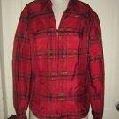 NWT Coldwater Creek Zip Up Front Tartan Scotch Plaid L/S Shirt M 10/12 Mettallic
