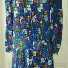 Vintage Albert Nipon Boutique 100% Silk Pleated Dress Womens sz 6 Hong Kong
