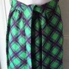 Vintage 70s Womens Long Maxi Woven Argyle Retro Mod Disco Skirt Belted Sash 12