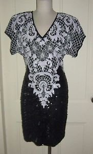 VINTAGE Stenay Heavily Beaded Sequined Silk Formal Gown Dress Womens sz 10 India