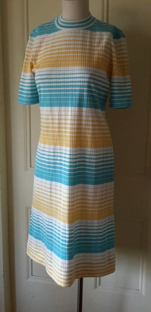 James Kenrob Dalton Knit Striped Ribbed Short Sleeve Dress Womens sz S Retro Mod