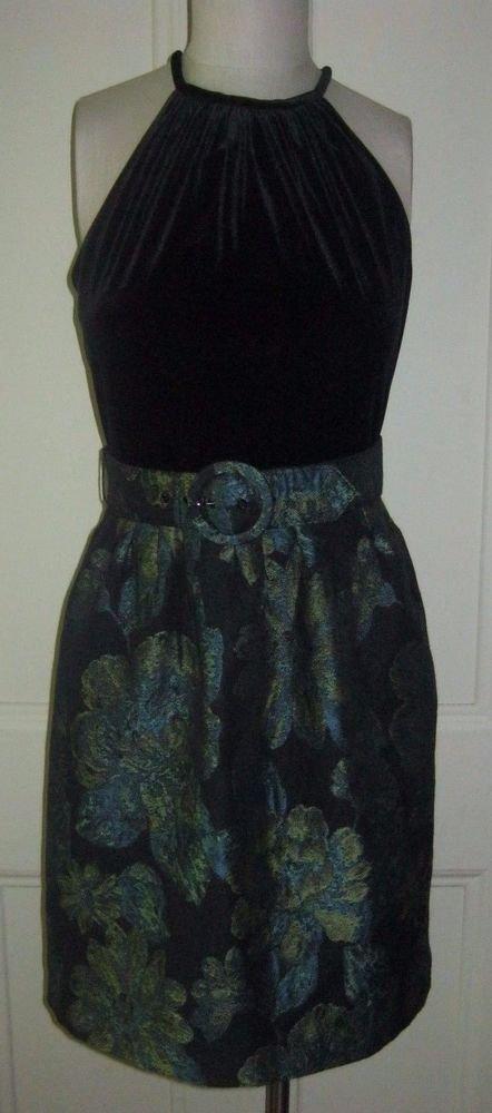 Madison Dress Velvet Halter Top Brocade Tapestry Belted Skirt Womens size 8