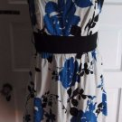 Corey P. Sleeveless Banded Waist Blue Floral Sheath Dress Sundress Womens 10