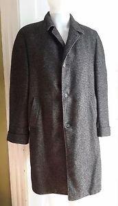 Vintage Anderson Little Harris Tweed Checked Raglan Overcoat Top Coat Mens 38 R