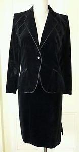 Ted Lapidus Designer Boutique Haute Couture Velvet skirt suit Blazer Jacket 42