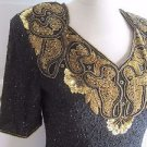 Vintage Stenay Heavily Sequined Beaded Evening Formal Cocktail Blouse Top S Gold