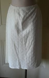 Vintage NOS Loehmann's Ivory Knit Floral Brocade Pattern Skirt womens size 14/16