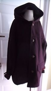Womens Traffic VBE Collection Hooded Wool Cashmere Toggle Wood Buttons Coat XL