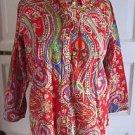 LRL Ralph Lauren Petite 3/4 Sleeve Button Up Paisley Blouse Shirt Top Womens PM