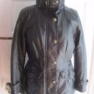 Womens Seventh Avenue Black Vegan Leather Quilted Insulated Fit & Flare Jacket S