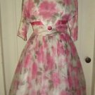 Vintage 50's Union Made Full Skirt Rockabilly Pinup Party Formal Dress 16 USA