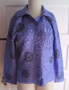 Womens Pleats Collection Pings Imports Handmade Crinkle Swirls Shirt Jacket S