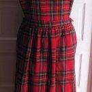Carroll Reed Wool Tartan Plaid Schoolgirl Apron Front Jumper Dress Womens M Red