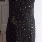 Papell Boutique Evening Heavily Beaded Slouch Silk Formal Gown Dress Womens 12