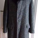 Vintage Henry Segal Mens WOOL Flecked Mottled Tweed Long Over Top Coat Fur Trim