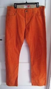 NWT Mens Izod Straight Fit Cotton Corduroys Bright Orange Various Sizes