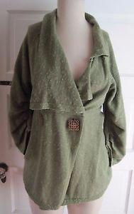 Bibelot Linen Blend Button Front Shawl Collar Wrap Swing Ruched Sweater Womens S
