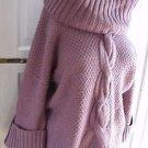 Womens Talbots Chunky Cable Knit Aran Wool Alpaca 3/4 Sleeve Cowl Neck Sweater M