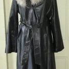The Tannery Montgomery Ward Floor Length Leather Duster Coat Shearling Trim 18T
