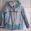 LL Bean Kids Girls Hooded All Weather Coated Nylon Rain Jacket Girls sz S 4 Blue