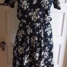 Vintage Lands End Women's Petites Floral Midi Jersey Knit Blouson Dress PM Navy