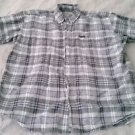 Woolrich 100% cotton Mens Button-up Short Sleeve Shirt Large plaid board