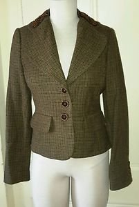 Womens Banana Republic Wool Alpaca Cropped Riding Plaid Tweed Jacket Blazer 6