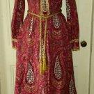 Vtg Periphery Arthur Williams Quilted Long Maxi Dress Womens 12 Boho Festival