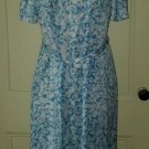 Vintage Deadstock NOS 60s 70s Jordan Marsh Tie Dress Blue Floral Roses Size 16WP