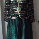 Talbots Holiday Tulle Metallic Striped Gold Maxi Skirt Jacket Suit Set Womens 6