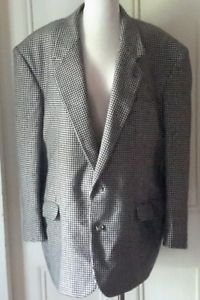 Vintage Rafael Houndstooth Rome NY Wool Suit SportCoat Jacket Blazer Mens 50R