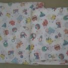 Lot of 2 Baby Items Bunny Bear Pull Toys Novelty Woven Soft Cotton Fabric Pastel