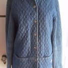 Womens Blue Willis Quilted Knit Distressed Denim Blue Jean Sweater Coat Jacket L