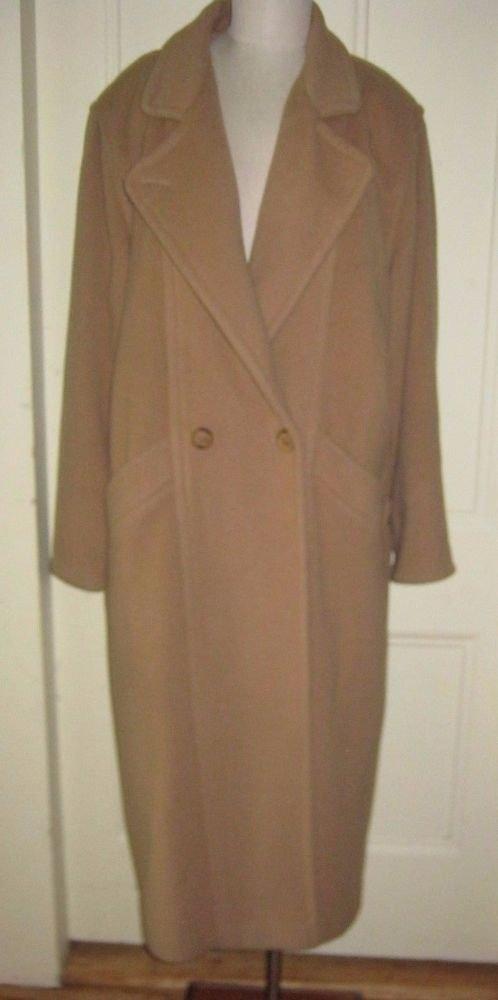 80s LL Bean Petites Wool Blend Long Over Top Dress Coat Womens 16P USA Camel