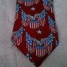 "American Pop Albert Nipon Flag Eagles Shields necktie 4"" w 58"" L. Red White Blue"