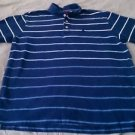 Izod Mens Short Sleeve polo style golf Shirt Size XLT 100% cotton blue striped