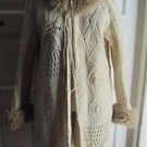Maurice Sasson Long Maxi Oversized Fur Collar Chunky Knit Sweater Coat Womens M