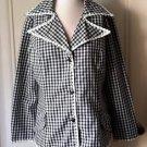 Vintage Coco California Gingham checkered Daisy Lace Trim Jacket Blazer sz 8/10
