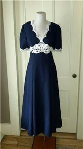 Vintage Floor Length Lace Keyhole Open back Dressy Formal Womens Sz S/M USA Navy