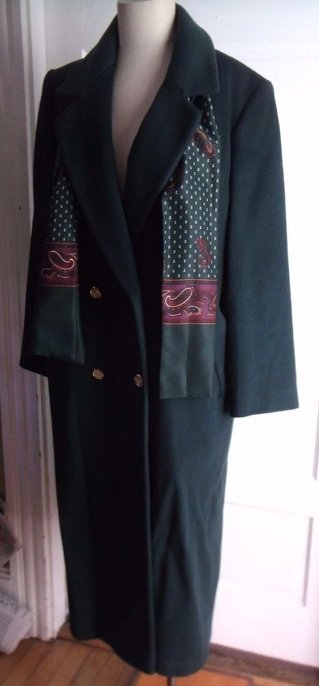 Vintage Womens Forecaster of Boston Gold Buttons Long Maxi Wool Coat sz 9 10 USA