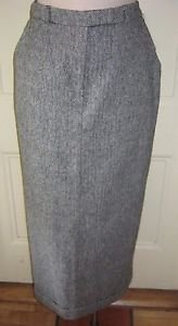 Jamais Sans Toi Herringbone Tweed Wool Maxi Long Skirt womens 8 Canada 40 Lined