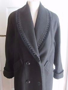 Vintage Jofeld Wool De Ball Velvet Ric Rac Trim Shawl Collar Coat Womens M L USA