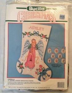 "1990 Bucilla Christmas Ashley Stocking Counted Cross Stitch Kit #82828 18"""
