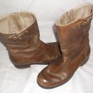Womens Palladium Cowboy Riding Work Boots Buckle Side Zip Up Brown Leather 9 M