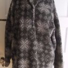 Womens 90s LL Bean Berber Deep Pile Sherpa Fleece Henley Nordic Fair Isle Jacket