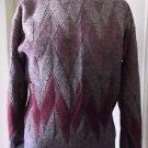 Vintage 60's Madrigal Wool Blend Argyle Knit Crewneck Sweater M Taiwan Cranberry