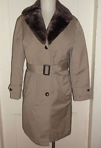 Vtg 60s LL Bean Prime Northern Goose Down Belted Fur Collar Leather Car Coat 10