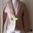 $248 NWT Molly B. Boutique Helene M Gold Quilted Silk Ribbon Jacket Womens Sz 8