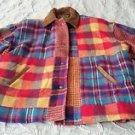 Vintage East West Color Block Patchwork Leather Trim Coat Jacket womens Large